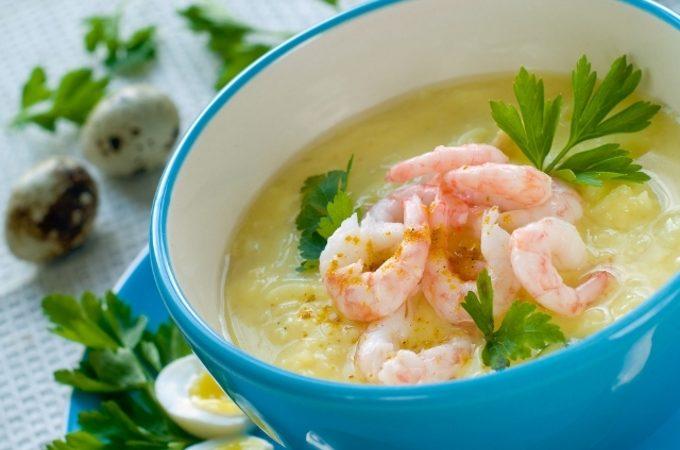 Суп с креветками и треской